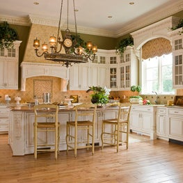Custom Habersham cabinetry graces the kitchen.