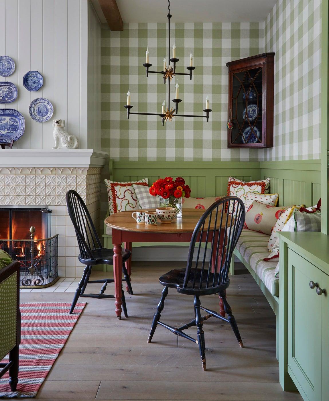 Breakfast room in chic farmhouse kitchen, green gingham wallpaper