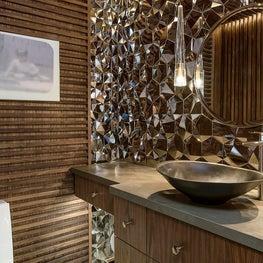 Retro powder room with mirrored ceramic tiles