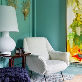 Lake Forest Showhouse 2020 : Marble Mosaic Floor, Gigi Radice Chair, Mid Century Lamp, Crystal Sconces, Abstract Art, Green Walls