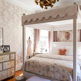 Wallpapered Bedroom With Custom Upholstered Canopy Bed