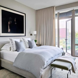 Master Bedroom, Phillip Jeffries Wallcovering, Bill Henson Art, Rogers and Goffigon Drapery, Caste Bench, Holly Hunt Bedside Table - Old Town Penthouse Project