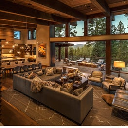 Expansive mountain modern great room with living and dining area