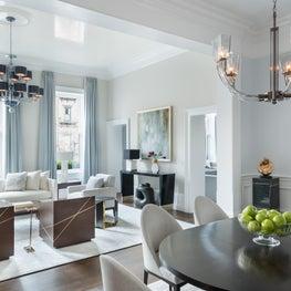 Back Bay Boston Residence DMitriy Furniture, Donghia and Villaverde Chandeliers