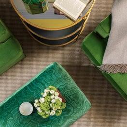 Velvet Green Chairs with Velvet Turquoise Green Ottoman