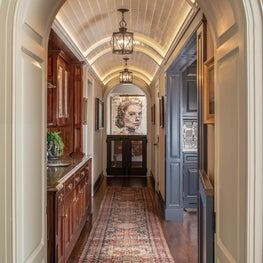 Dramatic Barrel Vaulted Ceiling in Downstairs Hallway