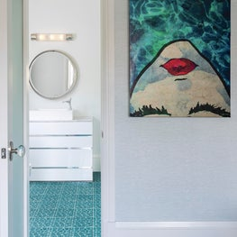 Bright blue elements & geometric textures in Key Largo, Florida bathroom design.