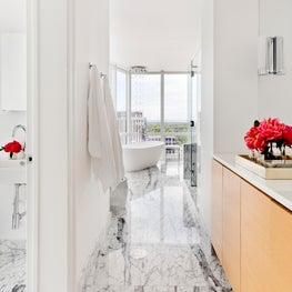 Clean-lined Modern Penthouse Bathroom - White Plains, New York