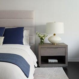 Upper East Side Master Bedroom Vignette with faux shagreen bedside table