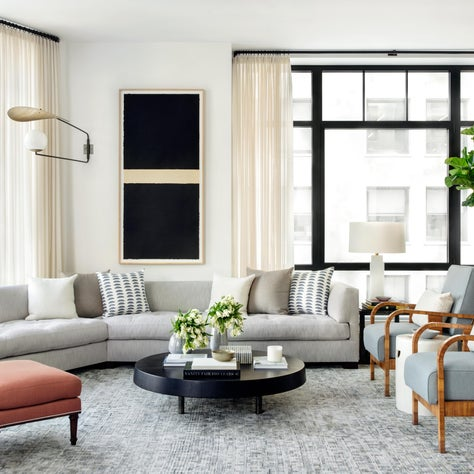 Modern City Living Room with Custom Sectional