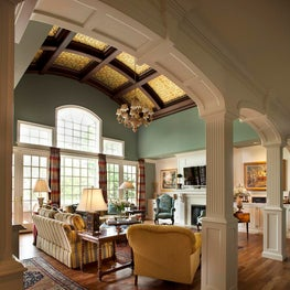Traditional Gathering Room w/ Architectural Features by Diane Burgoyne Interiors
