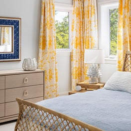 Comfortable bedroom with sunny textiles & sophisticated textures. Key Largo, FL.