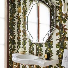 Magnolia Leaf Wallpapered Powder Bath
