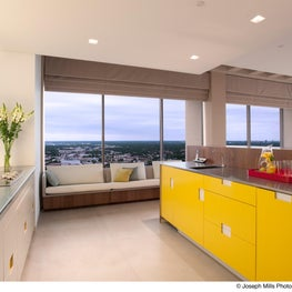 Midwest Penthouse: Custom window seating creates a singular look