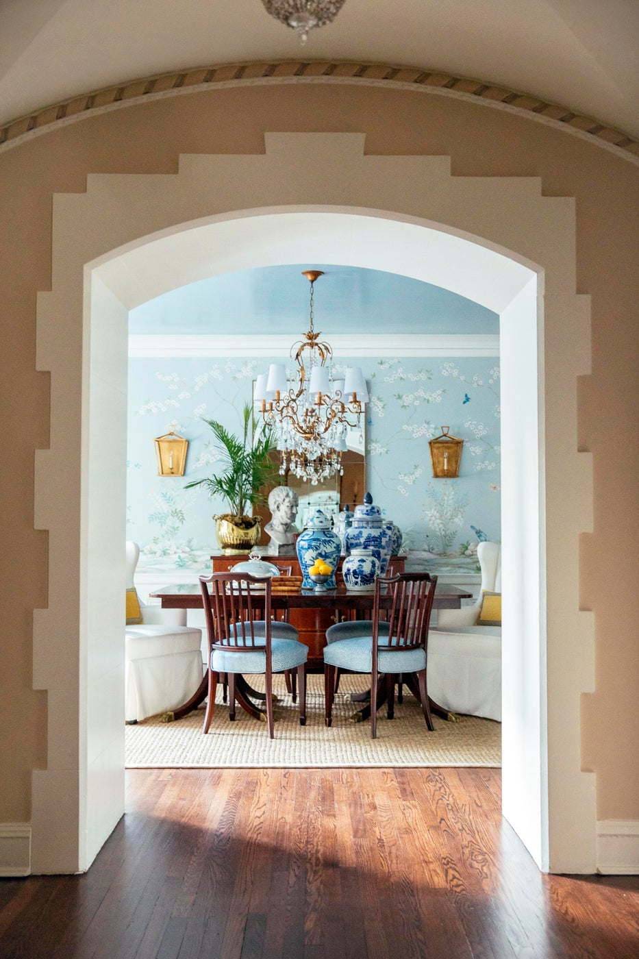 Traditional Dining Room With Hand Painted Mural