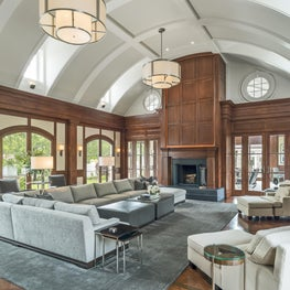 An interior Family Room Vaulted Seiling