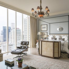 Downtown views, an eclectic mix and a custom cabinet to hide the TV