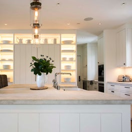 Modern Farmhouse Kitchen with art installation by Michner