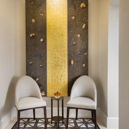 Boston Foyer w/ Bronze & Limestone floor Design, Villaverde light, Gold leaf Oil