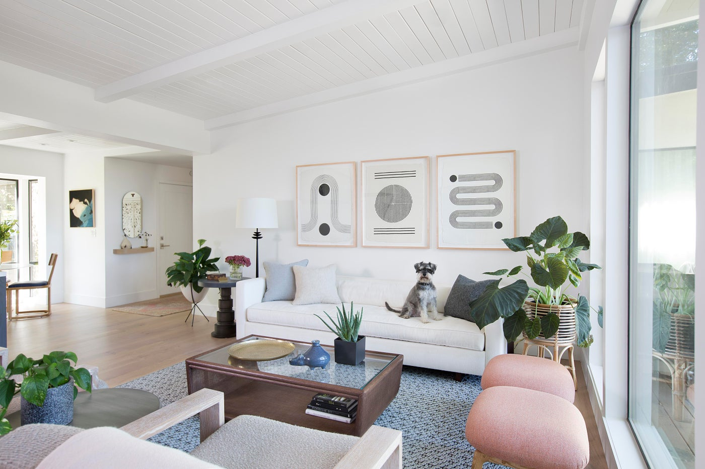 Modern Portola Valley Home, Living Room with White Sofa and Blush Ottomans