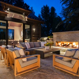 Snowmass Village, Aspen Two Creeks Remodel- Outdoor Fireplace living