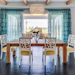 Dining Room Open to the Terrace, overlooking the water, in The Hamptons