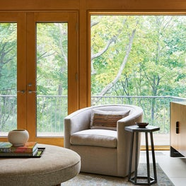 Treehouse Above The Lake | Cozy Swivel Chair on Colorful Patterned Rug