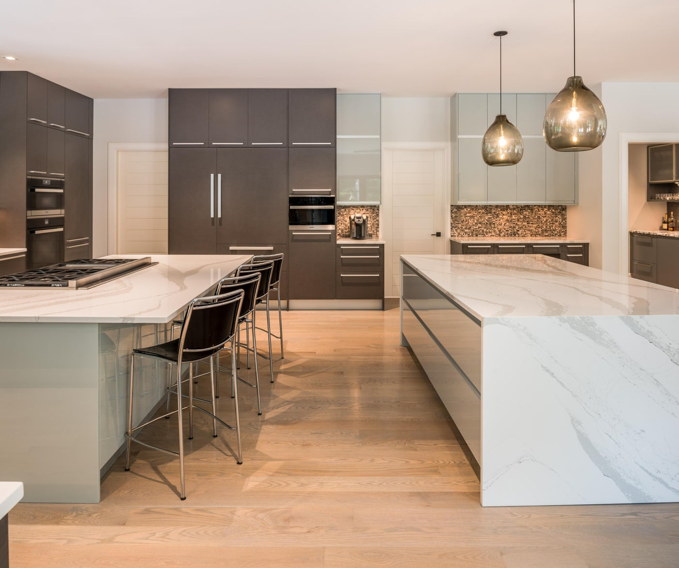 Transitional Residence Contemporary Kitchen with two islands - Chester County, PA