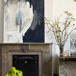 Brynn Olson Design Group - Lincoln Park Brownstone - Family Room Fireplace Art