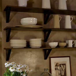 Open Kitchen shelf detail in a country kitchen