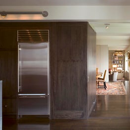 Upper West Side Apartment, Kitchen detail with dark stained Anigre wood cabinets