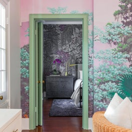 Family room vignette shot into Guest Bedroom