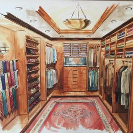 Each custom-sized closet has shoe racks, shelving, even a place for men's ties.