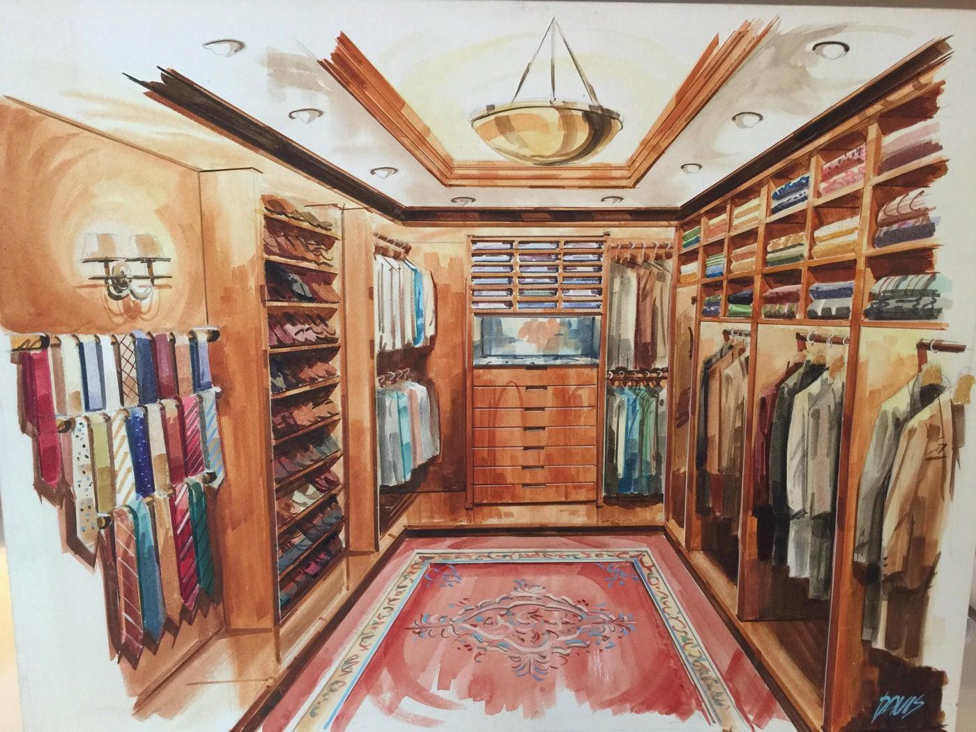 Each custom-sized closet has shoe racks, shelving, even a place for men's ties.