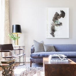 modern art filled eclectic jewel tone Living Room
