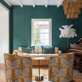 Piano Room with custom upholstery and layers of texture