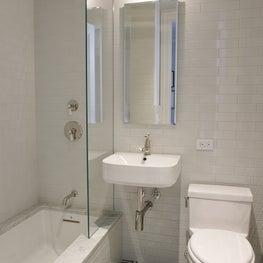Hexagon and Subway Tile in Pre-War Bathroom