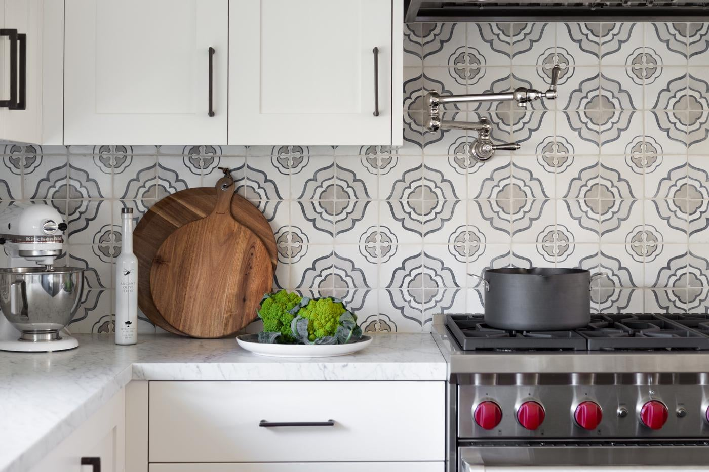 Classic White Kitchen with Hand Painted Tiles