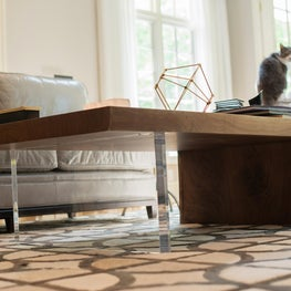 Lucite and live edge coffee table on hide rug