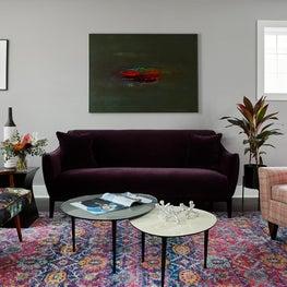 Logan Square chicago, Midcentury purple living room