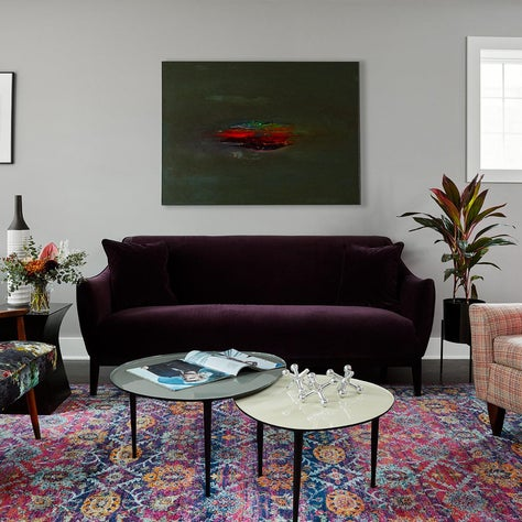 Logan Square chicago, Midcentury purple living room