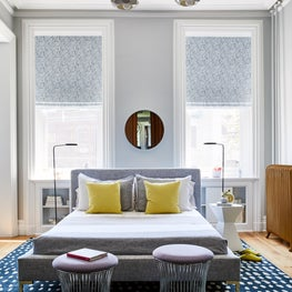 Hudson Street Brownstone I Kid's Room | Vintage Stools | Custom Chandelier