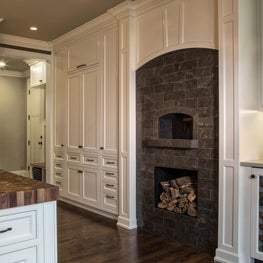 Lake Forest Chef's Kitchen - Custom Pizza Oven, Butcher Block, and Dry Bar