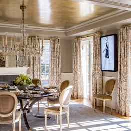 Lacquered Dining Room with Tea-paper Ceiling and Modern Art