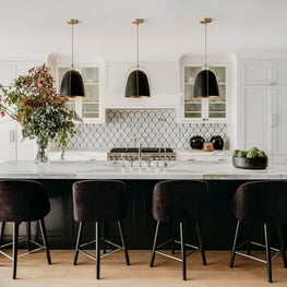 Dramatic kitchen in a Marina Residence. Designed by Lindsay Gerber.