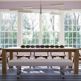 Modern Lavender Breakfast Room with Oak Table