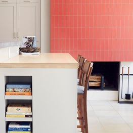 Springs Residence, Kitchen Fireplace with Heath Tile