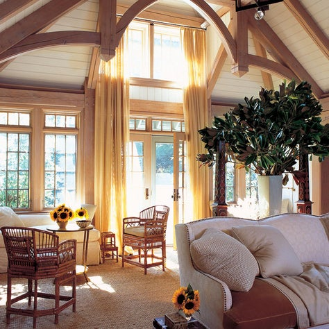 I lightened up this Tudor room  in Greenwich, Connecticut for modern living.