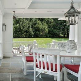 Outdoor dining porch,white paneling,beadboard, coffered blue ceiling, lantern