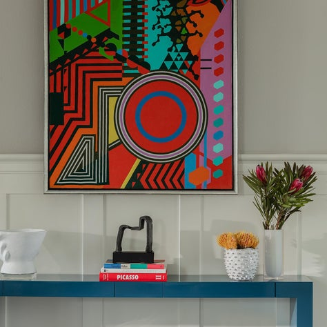 Entry Way with Colorful Artwork